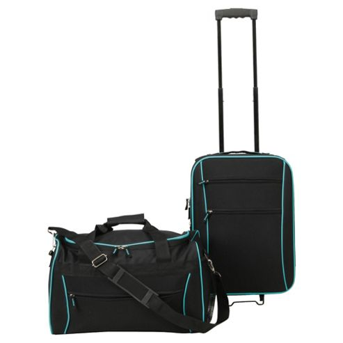 buy tesco 2 wheel suitcase holdall hand luggage set from. Black Bedroom Furniture Sets. Home Design Ideas