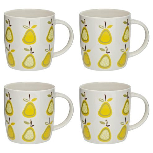 Tesco Retro Fruit Set of 4 Mugs, Pear