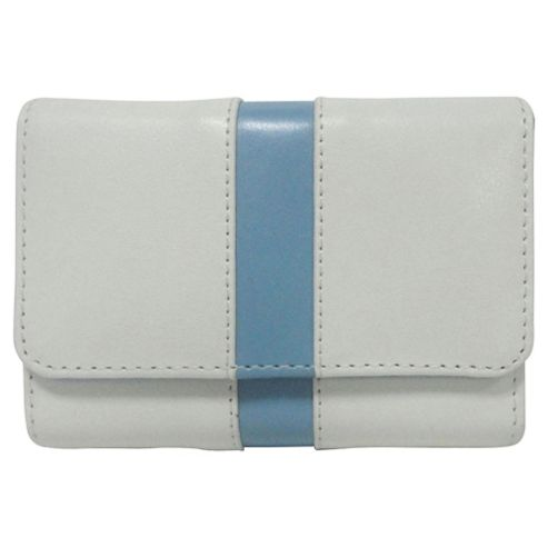 Technika Leather Camera Case, White with Blue Stripe