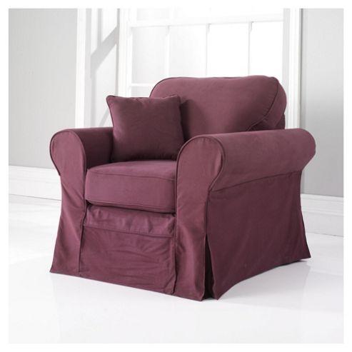 Louisa Fabric Armchair, Aubergine Loose Cover