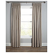 "Plain Canvas Lined Pencil Pleat Curtains W112xL137cm (44x54"") - - Taupe"