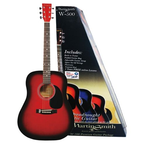 Martin Smith W-500 Acoustic Guitar with Built in Electronic Tuner Kit - Red