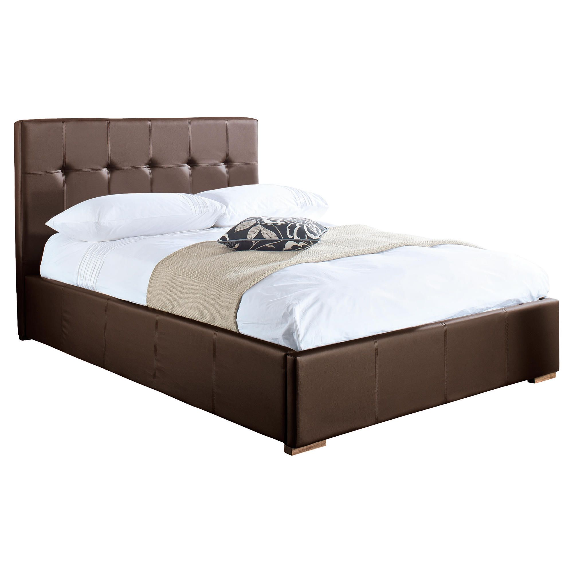 Orleans Double Storage Bed, Brown Faux Leather at Tescos Direct
