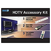 Vivanco HDTV Starter Kit – Contains Gold-plated HDMI cable, 6 Socket Surge protector and Flat Screen Cleaner