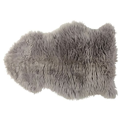 Tesco 100% Wool Sheepskin Rug, Grey