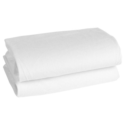 Tesco Loves Baby Fitted Jersey Sheet Moses/Pram 2 Pack, White