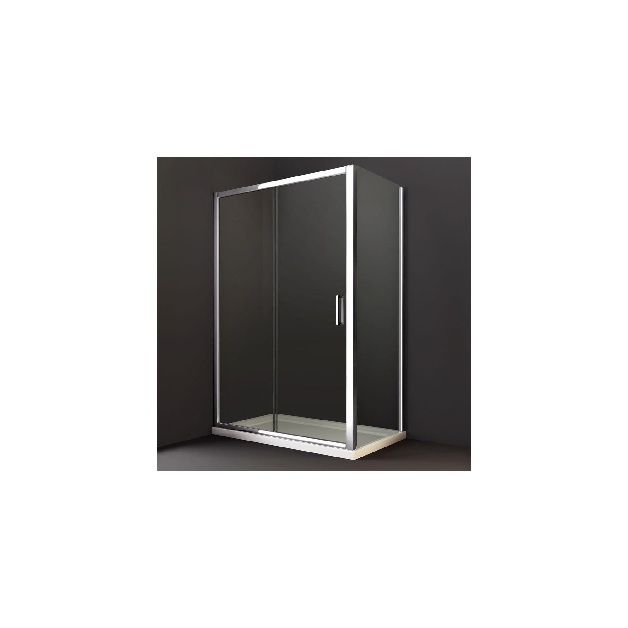 Merlyn Series 8 Sliding Shower Door, 1400mm Wide, Chrome Frame, 8mm Glass at Tesco Direct