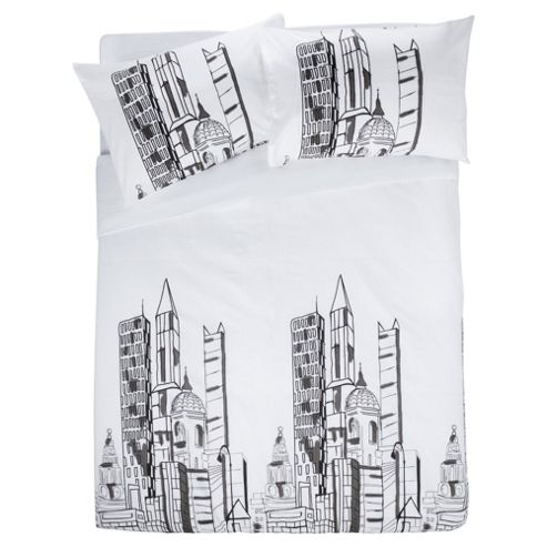 Tesco Building Block King Size Print Duvet Set King Size- White