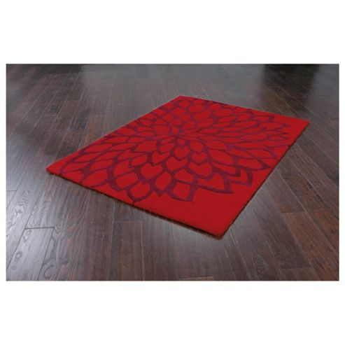 Tesco Rugs Large Flower Rug 150X240Cm Berry