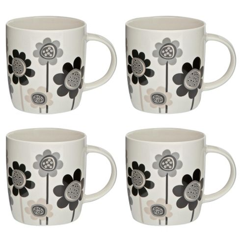 Tesco Funky Floral Set of 4 Mugs, Black