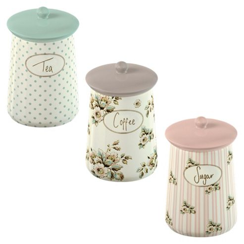 Katie Alice Ceramic Tea, Coffee and Sugar Canister Set