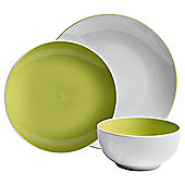 Tesco Two Tone 12 piece, 4 person Dinner Set, Lime