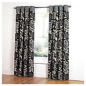 "Tesco Peony Print Unlined Eyelet Curtains W168xL137cm (66x54""), Black"