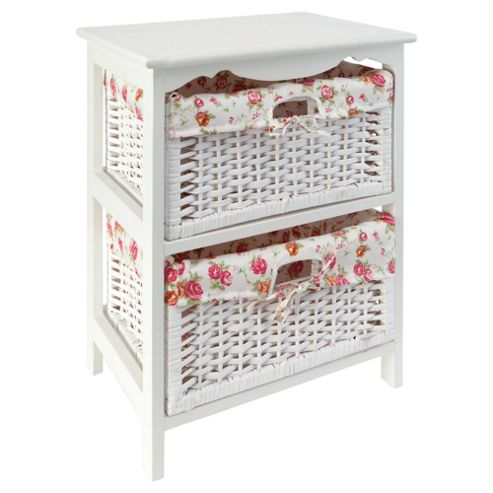 White Wicker 2 Drawer With Floral Lining