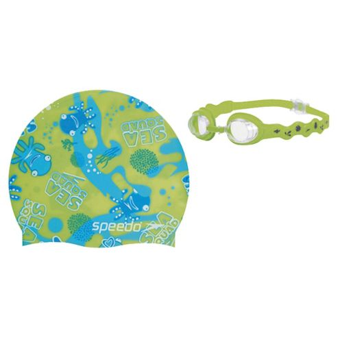 Speedo Sea Squad Swimming Goggles & Hat Set, 2-6, Green