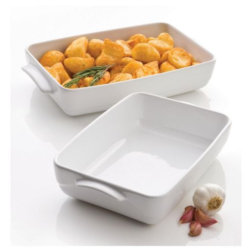 Pyrex Wave 2 piece Rectangular Roaster Set, White