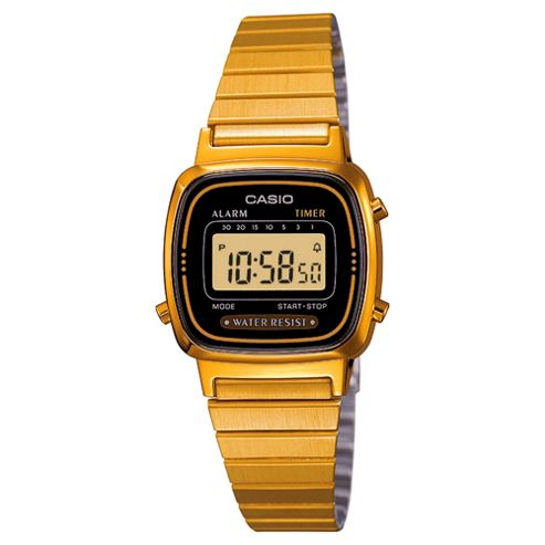 Casio LA670WEGA/1E Ladies Black Dial Gold Plated Digital Watch