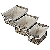 Wicker Set Of 3 With Wood Handles Grey Wash