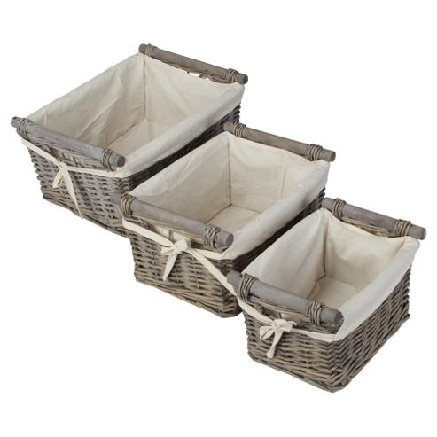 Tesco Wicker Baskets with Wood Handles, Set of 3, Grey