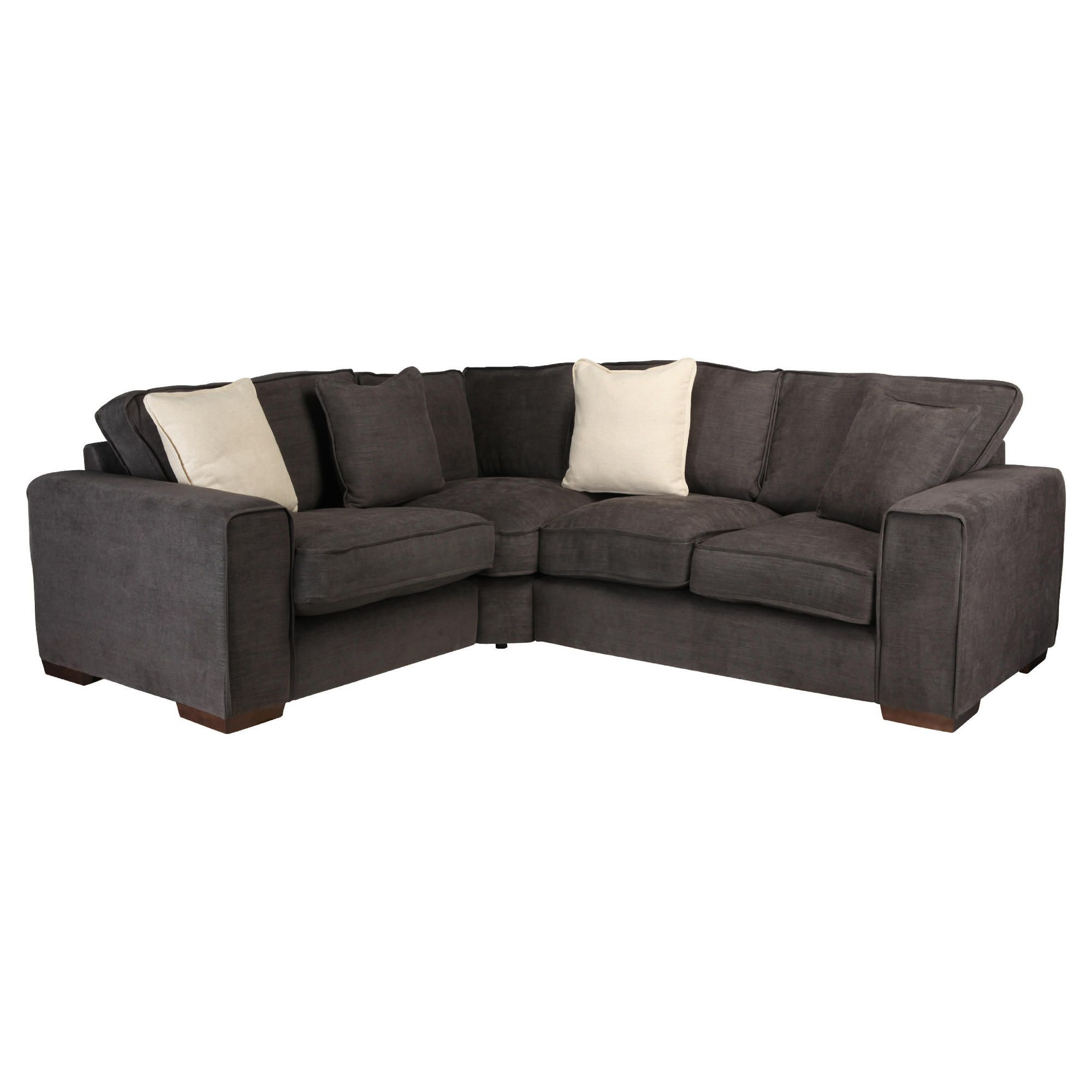 Omega Fabric Corner Sofa, Bark Left Hand Facing at Tesco Direct