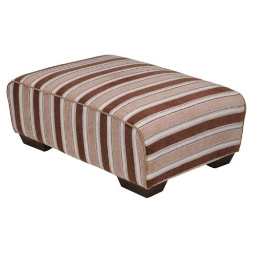 Amelie Stripe Fabric Footstool, Camel