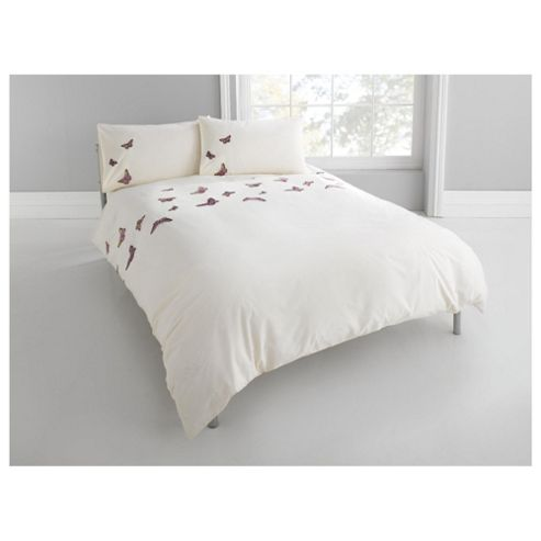 Tesco Emb Butterflies Single Duvet Set – Cream