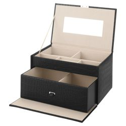 LC Large Black Croc Effect Jewellery Box