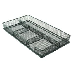 Metal, mesh drawer organiser. Black
