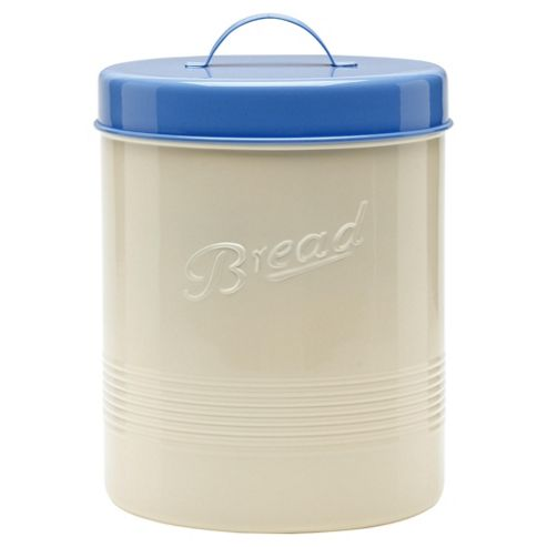 Tesco Biscuit and Bread Tin, Cream and Blue