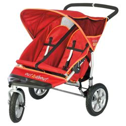Out 'n' About Nipper Double 360, 3 wheeler Pushchair Limited Edition, Raspberry