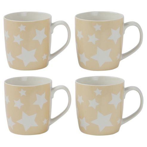 Tesco Stars Set of 4 Mugs, Cream