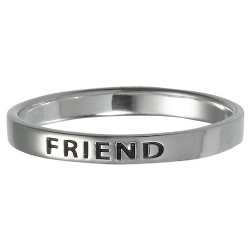 Sterling Silver Friend Stacking Ring, Medium