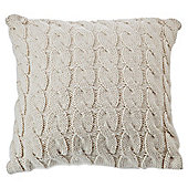 F&F Home Cable Knit Cushion Cream