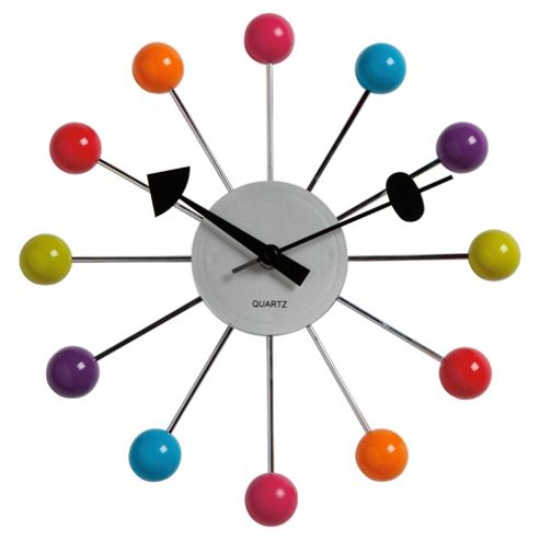 Tesco Clocks Starburst Wall Clock Multi Coloured
