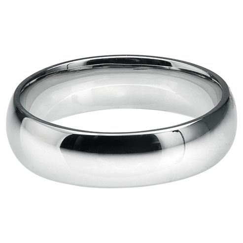 Sterling Silver Mens 6mm D Shape Wedding Ring, S
