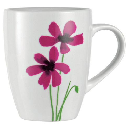 Tesco Watercolour Poppies Set of 4 Mugs