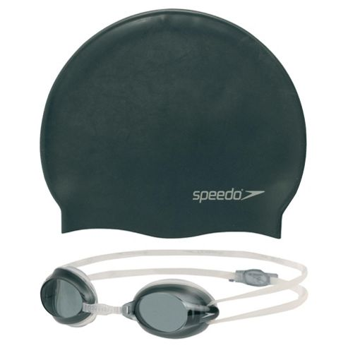 Speedo Jet Goggle & Swimming Hat Set, 6-14, Black