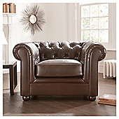 Chesterfield Leather Armchair, Brown