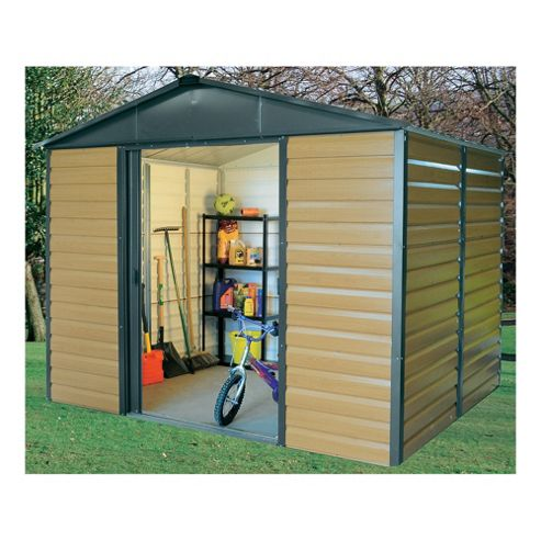 Yardmaster 9'4x12' Metal Woodgrain Effect Apex Shiplap Shed with floor support frame