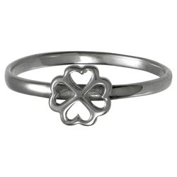 Sterling Silver 4 Leaf Clover Stacking Ring, Medium