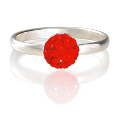 Sterling Silver Red Crystal Set Stacking Ring, Small