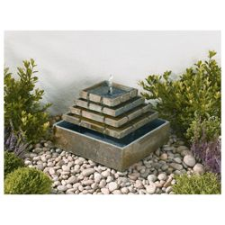Solar powered slate corner fountain