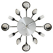Present Time Wall Clock Silver Ware Utensils Steel Small
