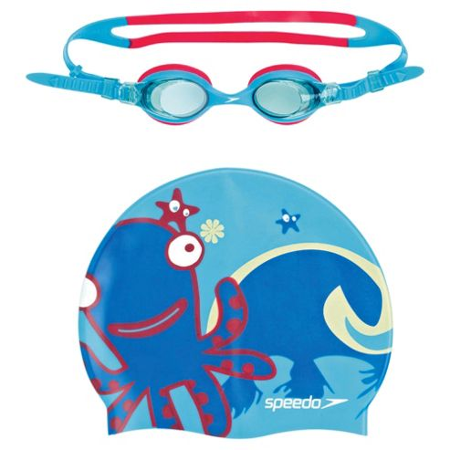 Speedo Sea Squad Swimming Goggles & Hat Set, 2-6 Blue