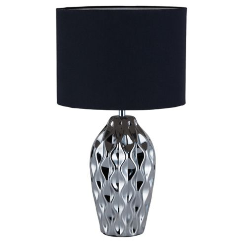 Tesco Lighting Faceted Black Silver Table Lamp