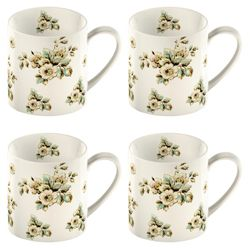 Katie Alice Set of 4 Cream Flowers Can Mugs