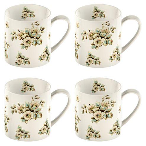 Katie Alice Set of 4 Cream Flowers Can Mugs