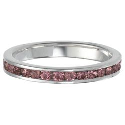Sterling Silver Full Pink Crystal Stacking Ring, Medium