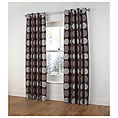 "Tesco Chenille Circles Lined Eyelet Curtains W162xL183cm (64x72""), Mocha"