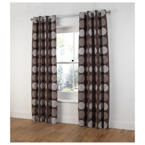 Tesco Chenille Circles Lined Eyelet Curtains W163xL183cm (64x72